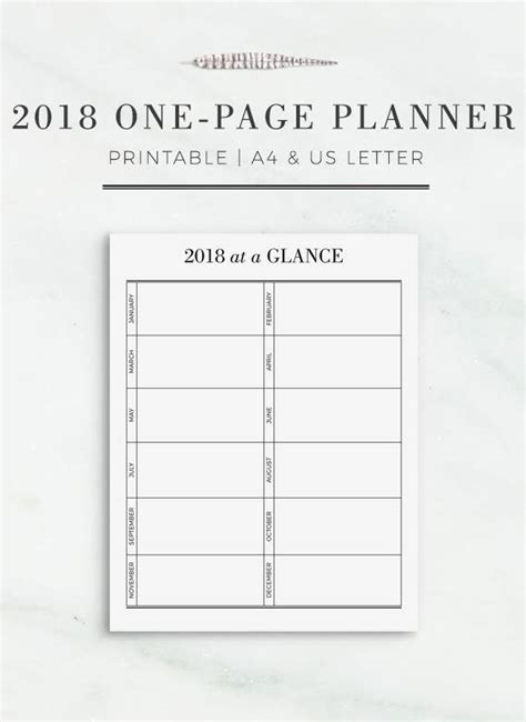 2018 One-Page Planner Printable Yearly Planner Page