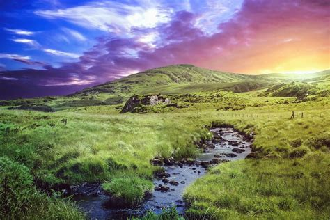 Free picture: stream, water, grass, mountain, rocks, sky