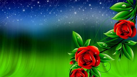 Red Roses And Green Leaves With Drops Of Water Sky With
