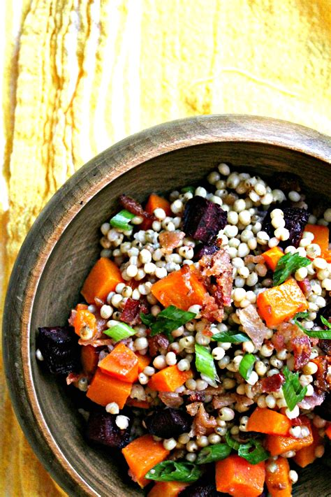 Bacon, Beet, and Butternut Squash Sorghum Salad - Cooking