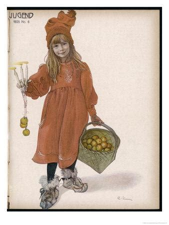 Brita with Candles and Apples Giclee Print by Carl Larsson