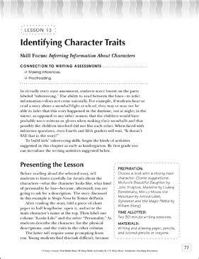 Identifying Character Traits   Printable Lesson Plans and