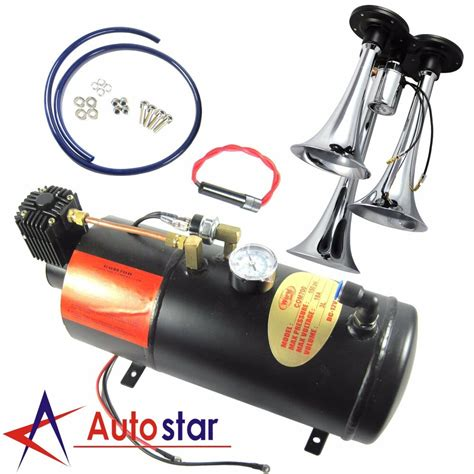 3-Trumpet Train Air Horn Kit 150 PSI 150db Air System With