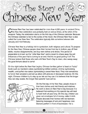 The Story of Chinese New Year   Printable Lesson Plans